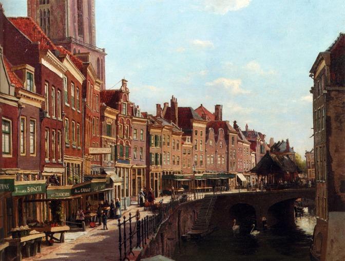 Oppenoorth_Willem_Townsfolk_Shopping_Along_The_Oude_Gracht_Utrecht